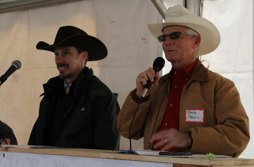 Col. Luke Mobley & Danny Osborn at Osborn Red Angus 2016 Sale