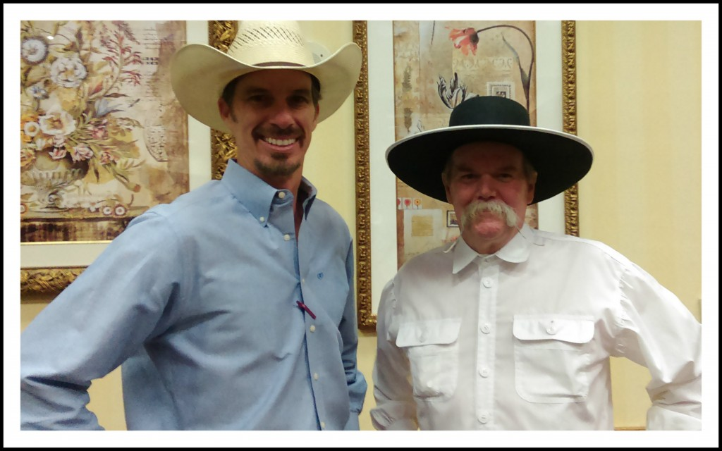 Luke Mobley with Cowboy Poet Waddie Mitchell at the 2015 Arkansas Cattlemen's Convention