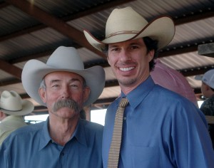 Baxter Black and Luke Mobley at Cow Creek Ranch Brangus Sale in Alabama