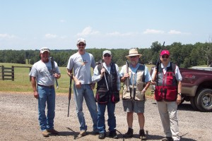 David Echols, Luke Mobley, Carroll Cannon, Exum Worrell, and Ronnie Silcox at Brush Creek Sporting Clays