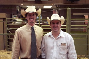 Luke Mobley and Charlie Wood at a Beefmaster Sale in Cullman, Alabama