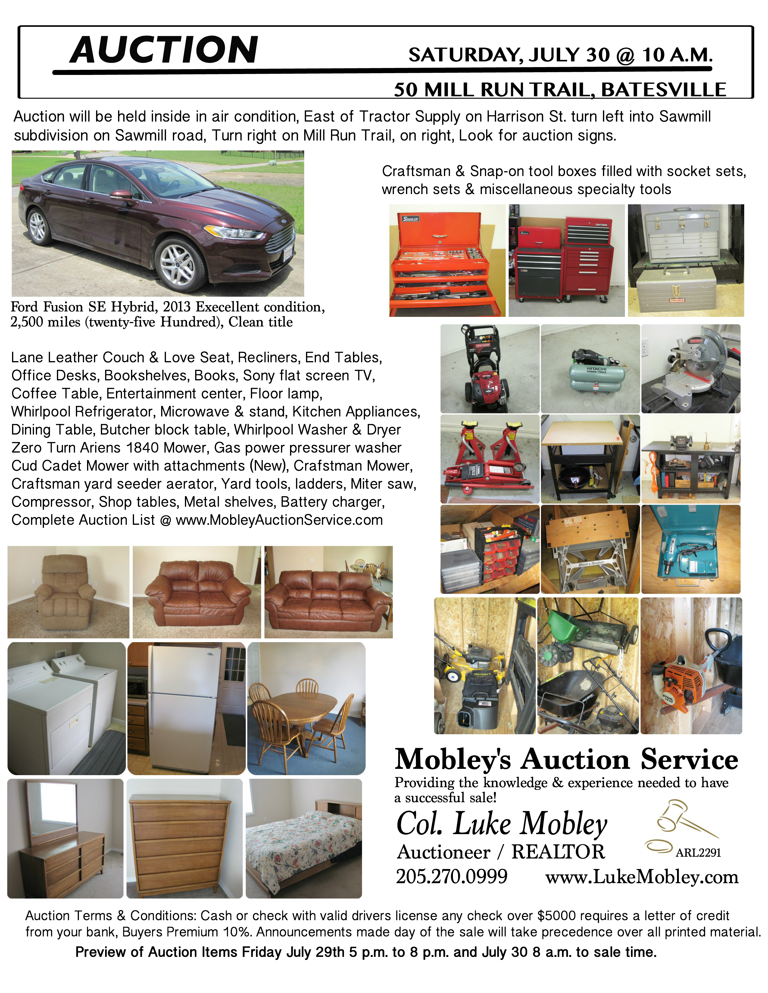 estate auctions luke mobley col colonel luke mobley kinzy flyer
